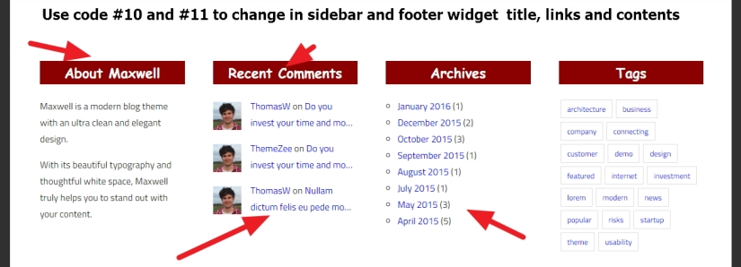 Maxwell By ThemeZee sidebar and footer widget title links and content style change