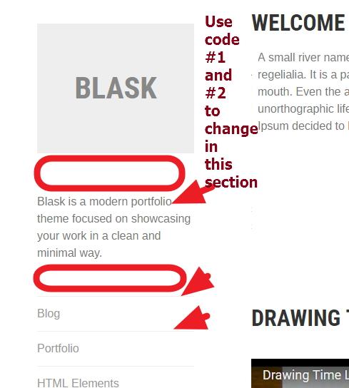 logo tagline menu font color border modifications