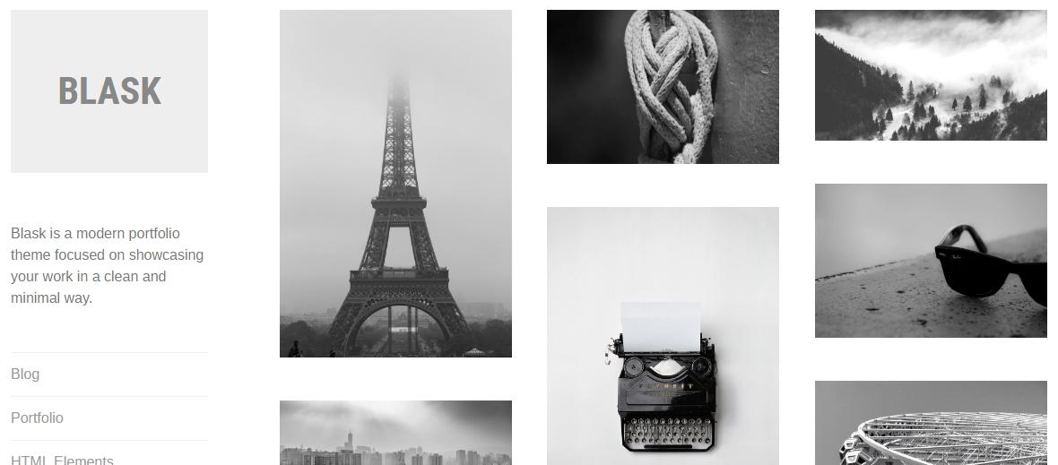 portfolio theme blask by Automattic