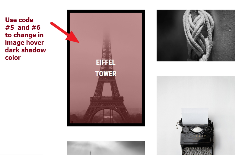 portolio page image hover shadow color change