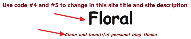 Site title and site description modification of Floral theme by eLightUp