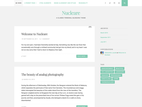 WordPress theme Nucleare By CrestaProject: Modification of Header ...