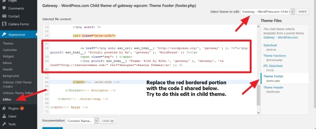 Gateway By Rescue Themes footer copyright information or Proudly Powered by wordpress modification