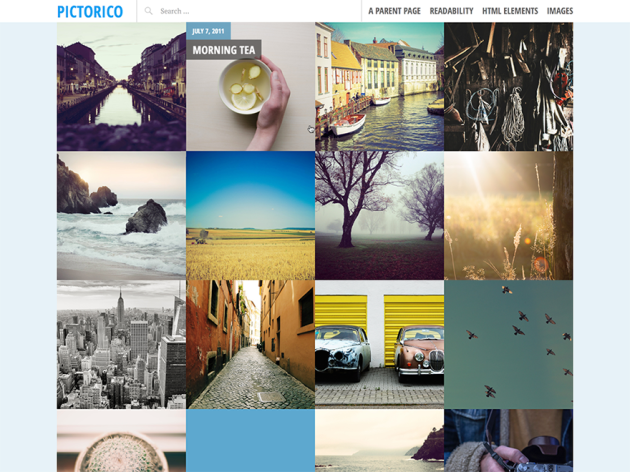 pictorico by automattic grid-based theme with large featured images and a post slider
