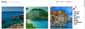 photos theme by automattic blackish hover effect image color change