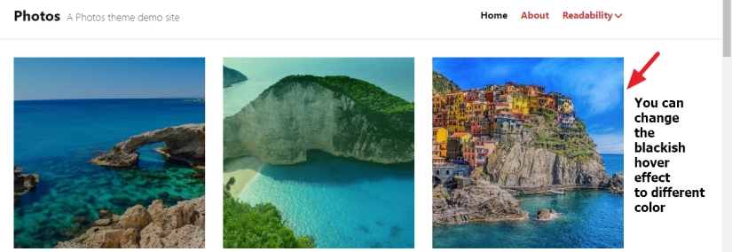 photos theme by automattic blackish hover effect image color change