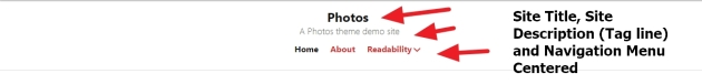 photos theme by automattic Site title Tag line and Menu to show centred