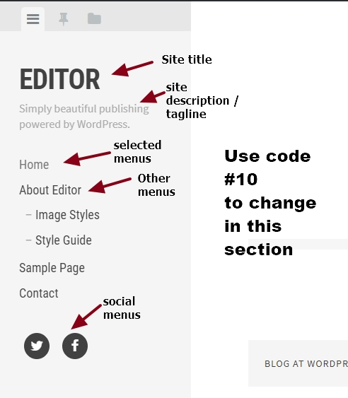 theme Editor by Array site title menus and social icons modification