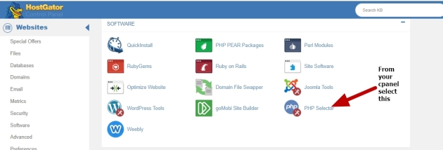 change php version in cpanel of hostgator