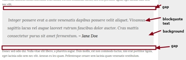 blockquote background, gap between text, top and bottom margin,font color, size and font family modification