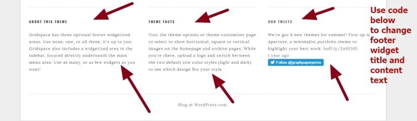 Gridspace By Graph Paper Press footer widget title contents font size color center font family modification