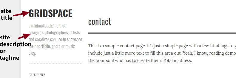 Gridspace By Graph Paper Press site title or site description modification