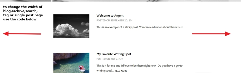 Theme Argent by Automattic blog, archive, tag, search and single post page width increase