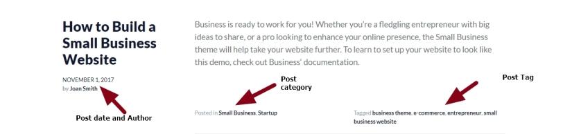 theme business by automattic post date category and tag modifications