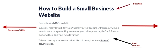 theme business by automattic single post title content modification and increasing width