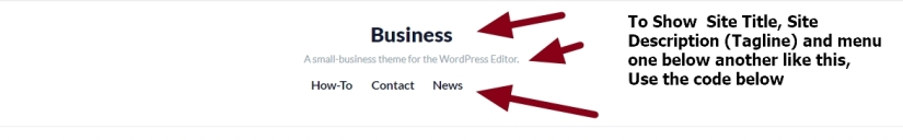theme business by automattic site title description and menu one below another