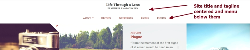 Lens By Pro Theme Design Site title and tagline centered and menu below them