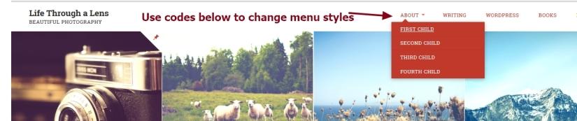 Lens By Pro Theme Design menu and sub menu items modifications