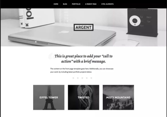 Modern Wordpress Portfolio Theme Argent By Automattic For Professional Designers Artists And Photographers All About Basic