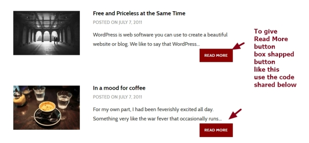 Theme Argent by Automattic Read More button box shapped with background and color