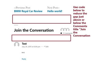twenty nineteen theme by the wordpress team reduce gap just above or below the comments title Join the conversation