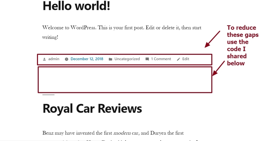 twenty nineteen theme by the wordpress team reducing gap between posts in category blog archive or search page