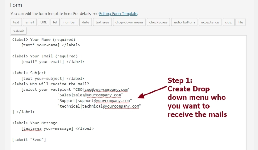 contact form 7 code to send mails based on drop down person or department selection