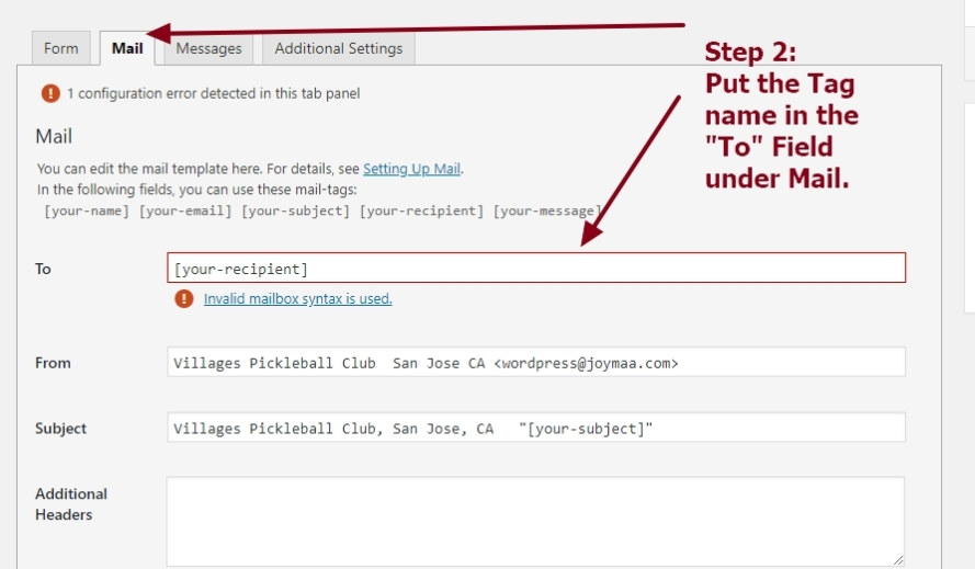 contact form 7 mail tag to send mails based on drop down person or department selection