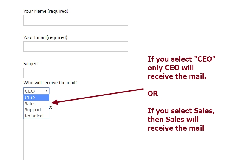 contact form 7 send mails based on drop down person or department selection