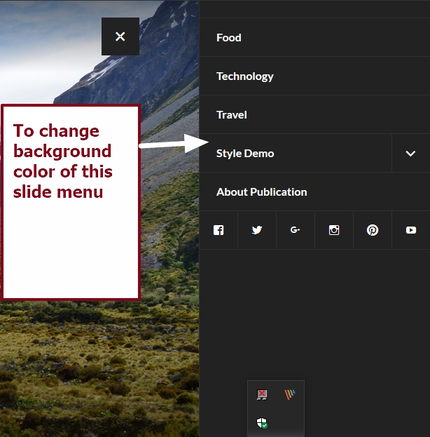 theme publication by automattic change background color of slide menu