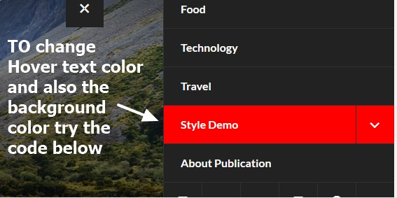 theme publication by automattic slide menu items hover text and background color