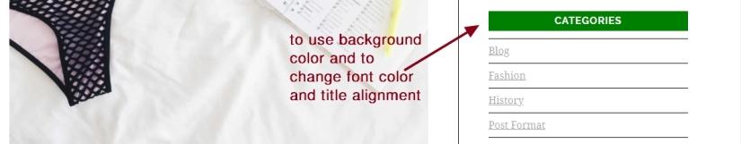 Luxury brand theme wordpress sidebar widget title modifications