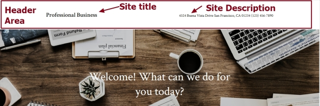 Professional Business By Automattic header site title site description and Header background modifications