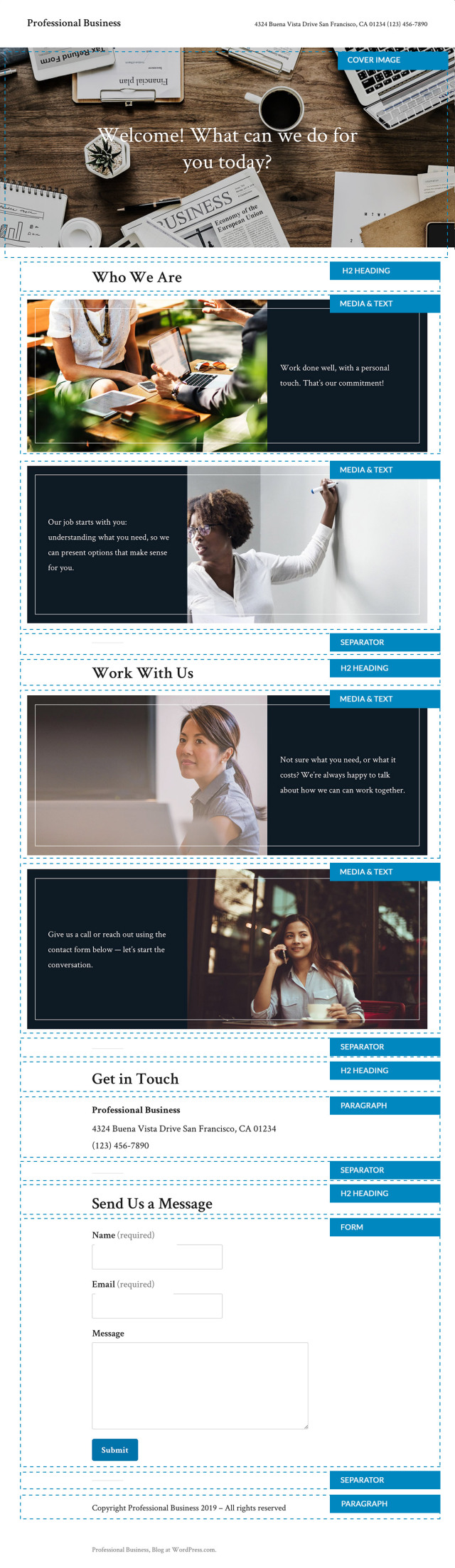 Wordpress Twenty Nineteen (2019) child theme to create Free Professional Business Website