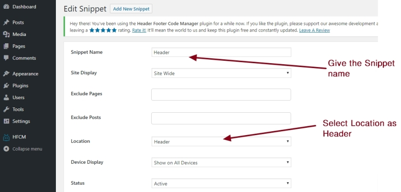 Header Footer Code Manager Header Code