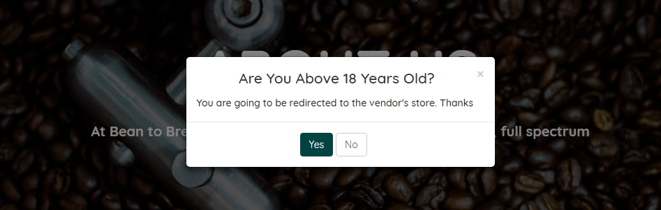 PopUp Modal Confirmation Yes No and Redirection