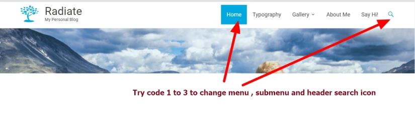 theme radiate header menu submenu search icon modification