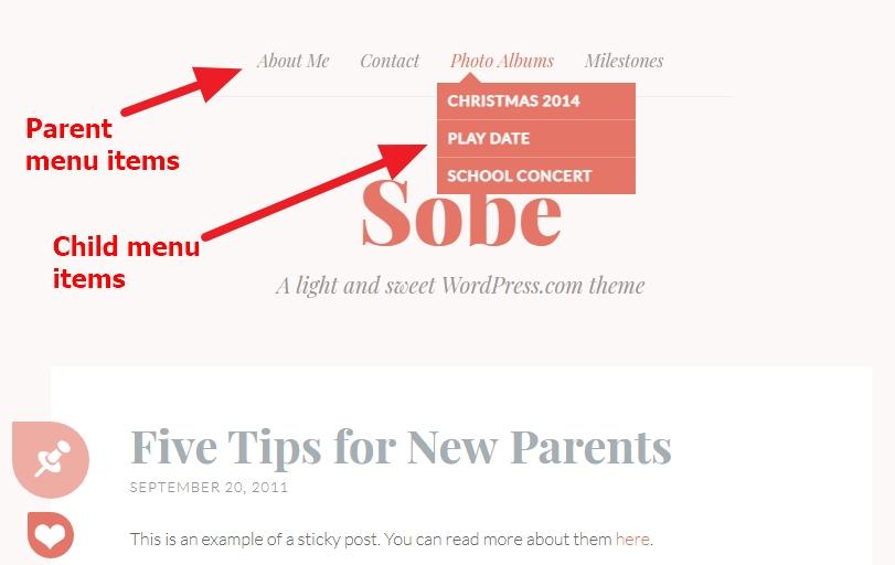 Theme Sobe menu items modifications